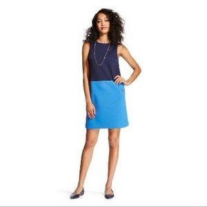 Merona Blue Colorblock Scuba Knit Sheath Dress
